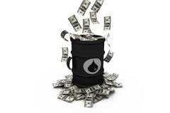 Barrel of oil with dollars Royalty Free Stock Photography