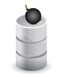Barrel of oil with explosive Royalty Free Stock Images