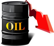 Barrel of oil and the falling prices. Metal barrel with oil and arrow showing the falling prices vector illustration