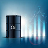 Barrel of oil with financial graphs and charts. Stock  ill Royalty Free Stock Photos