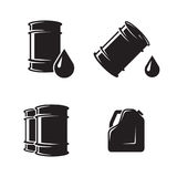 Barrel oil icons. Oil drop for your disign. Black on a white background royalty free illustration