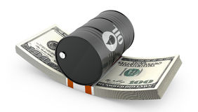 Barrel of oil on a pack of dollars Stock Photos