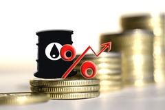 Barrel for oil and the percentage on a background of money . Royalty Free Stock Images