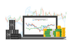 Barrel of oil price chart vector illustration in flat style. Stock graph on laptop screen. Stock Image