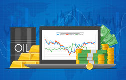 Barrel of oil price chart vector illustration in flat style. Stock graph on laptop screen. royalty free illustration