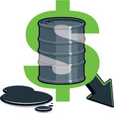 Barrel of Oil - Price Down. Dollar Symbol with Barrel of Oil - Price Down stock illustration