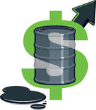 Barrel of Oil - Price Up. Dollar Symbol with Barrel of Oil - Price Up royalty free illustration