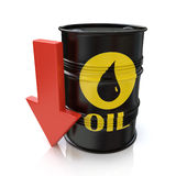 Barrel of oil and red arrow. The concept of reducing oil prices Stock Image