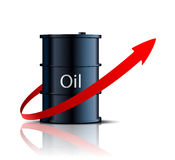 Barrel of oil and red arrow Royalty Free Stock Image