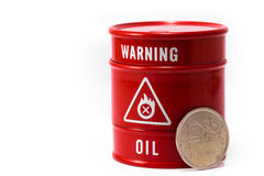 Barrel oil and rouble. Barrel with oil and rouble Stock Photos