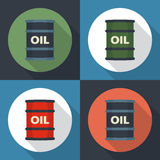 Barrel oil round icon. Flat style with long shadows Royalty Free Stock Images