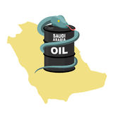 Barrel oil in Saudi Arabia map background. Snake around  barrel. Royalty Free Stock Images