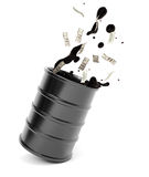 Barrel of oil with splash and dollars Royalty Free Stock Image