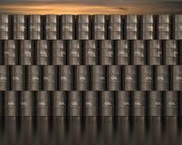 Barrel Oil. Stacks barrel of oil with sunset in the background vector illustration