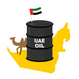 Barrel oil UAE  map background. Flag United Arab Emirates. Camel Stock Images
