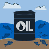 Barrel of oil underwater with the fishes. Royalty Free Stock Images