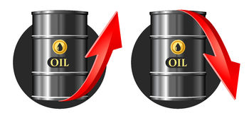 Barrel of oil with up and down price rate arrows. Vector illustration. Elements is grouped for easy edit Royalty Free Stock Image