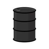 Barrel of oil on a white background. Black steel barrel. Vector. Illustration Stock Images