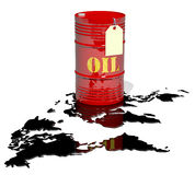 A barrel of oil and world map. A barrel of oil and empty price tag. spilled oil as a map of the world royalty free illustration
