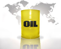 Barrel with oil on the world map background Royalty Free Stock Photo