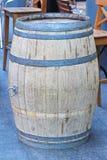Barrel. Old oak barrel in front of caffee Stock Photo