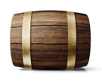 Barrel. Old wooden barre isolated on white. 3d illustration Stock Photography