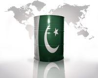 Barrel with pakistani flag. On the world map background Stock Photo