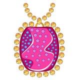 Barrel pendant. Gemstone golden sapphire rim barrel pendant on white background, vector illustration stock illustration