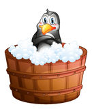 A barrel with a penguin Stock Photography