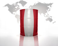 Barrel with peruvian flag Stock Images