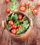 Barrel of pickled tomatoes Royalty Free Stock Photography