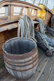 Barrel on pirate vessel deck Stock Photo