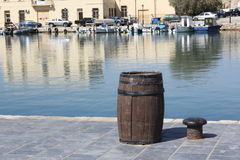 Barrel in the port Royalty Free Stock Image