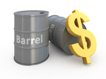 Barrel price. 3d concept illustration royalty free illustration