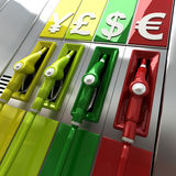 Barrel price. 3D rendering of colorful fuel pumps with currency symbols Stock Images
