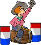 Barrel Racer. This illustration depicts a cowgirl racing barrels Royalty Free Stock Images