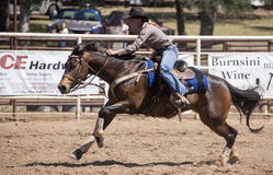 Barrel Racer Sprints to the Finish Stock Photography