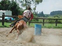 Barrel racing. Western rider stock photos