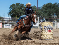 Barrel Racing. Action at the Cottonwood Rodeo in northern California stock image