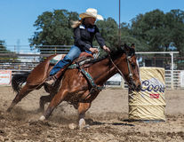 Barrel Racing. Action at the Cottonwood Rodeo in northern California Stock Images