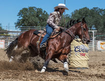 Barrel Racing Action. At the Cottonwood Rodeo in northern California Stock Image