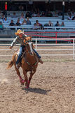 Barrel Racing - Cheyenne Frontier Days Rodeo 2013 Royalty Free Stock Image
