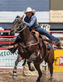 Barrel Racing Cowgirl. Barrel racing action at the Cottonwood Rodeo in northern California stock photo