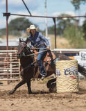 Barrel Racing Cowgirl. Barrel racing action at the Cottonwood Rodeo in northern California stock images