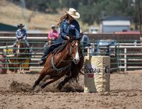Barrel Racing on a Sunday Afternoon. A barrel racer riders her horse and cuts a turn to kick up a lot of dirt. The rodeo in Cottonwood, California is a popular stock photography