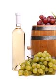Barrel, ripe grapes and bottle of wine Royalty Free Stock Photo