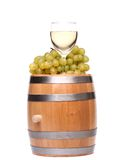 Barrel, ripe grapes and glass of wine Stock Photo