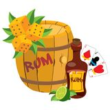 Barrel of rum, bottle, playing cards, dice. Graphics Pirate theme. Barrel of rum, bottle, playing cards, dice Graphics Pirate theme stock illustration