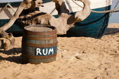 Barrel of rum on the seashore Royalty Free Stock Photography