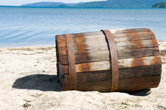 Barrel on sand Royalty Free Stock Images